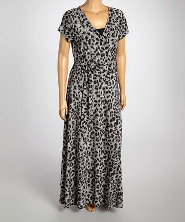 87d8e194ddb3ee Love this Black & Charcoal Leopard Wrap Maxi Dress - Plus on #zulily!  #zulilyfinds