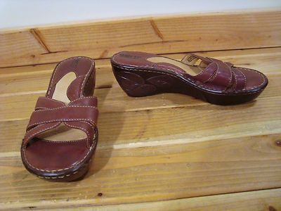 Womens Born Brown Leather Open Toe Wedge Mules Sandals Shoes 8 M | eBay