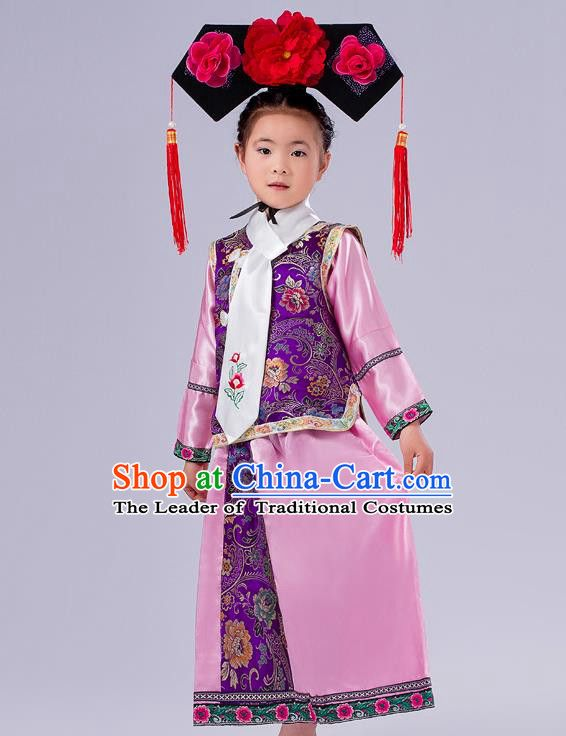 a8eb5fc3a Ancient Chinese Palace Costumes Complete Set, Traditional Qing Dynasty  Ancient Princess Skirt, Manchu Children Clothing, Cosplay Manchu Princess  Dress Suits ...