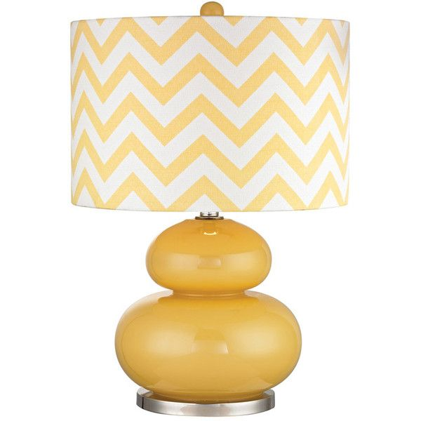 Yellow Glass Table Lamp 165 Liked On Polyvore Featuring Home