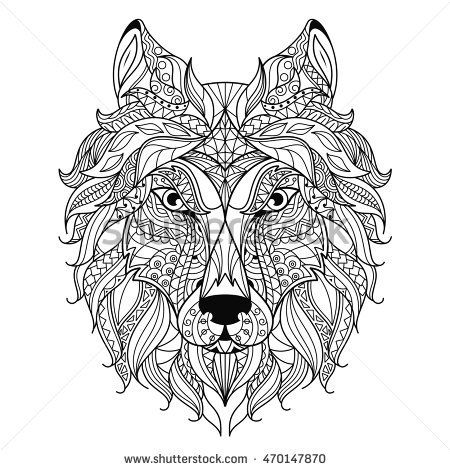 Wolf head zentangle stylized, coloring page. | pirograbados ...