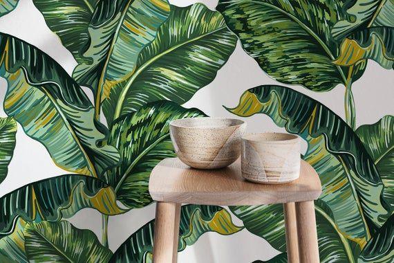Tropical Wallpaper, Banana Leaf Wallpaper, Wall Decor
