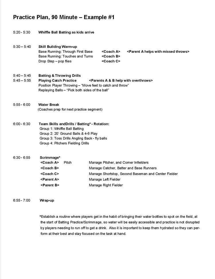 Practice Plan, 90-minute - Example #1.jpg | softball/baseball ...