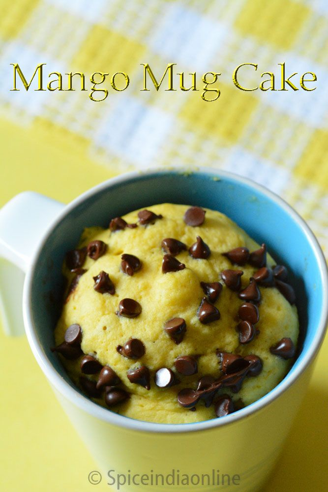 Eggless Mango Mug Cake Microwave Baking Recipes Two Minute