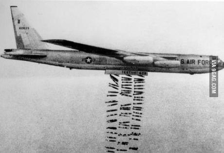 B52 bomber has a freedom diarrhea