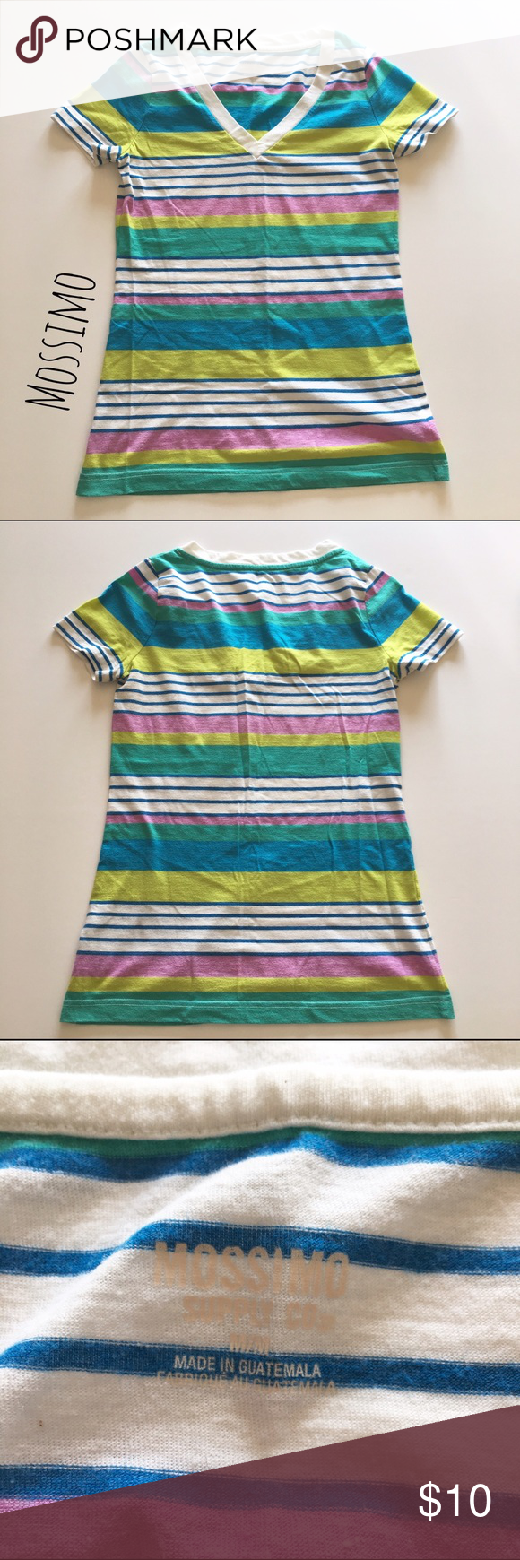 """Multi Colored Striped Tee Brightly colored striped tee by Merona. ▪️25"""" long ▪️13"""" shoulder to shoulder ▪️Soft & has stretch ▪️In great condition   🚭 Smoke-free home 📬 Ships by next day 💲 Price negotiable  🔁 Open to trades  💟Happy Poshing!💟 Merona Tops Tees - Short Sleeve"""