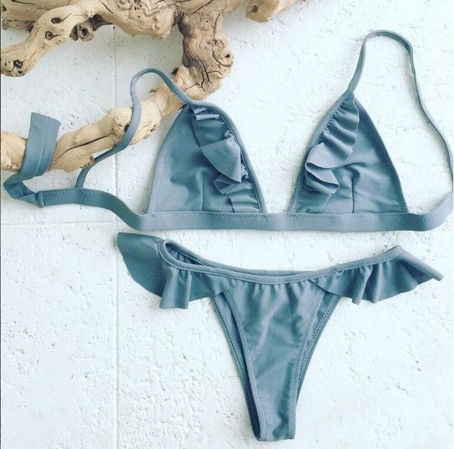 Triangle Ruffle Brazilian Bikini Set