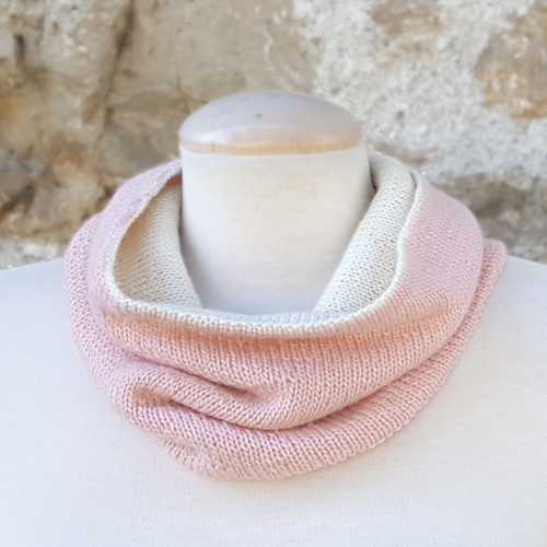 This simple, reversible cowl is knit in the round and ...