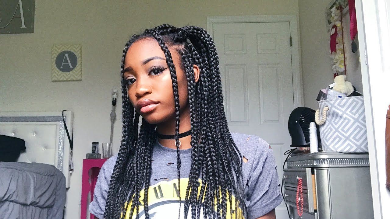 Quick Easy Box Braid Hairstyles Braids For Black Hair Box Braids Hairstyles Box Braids Styling