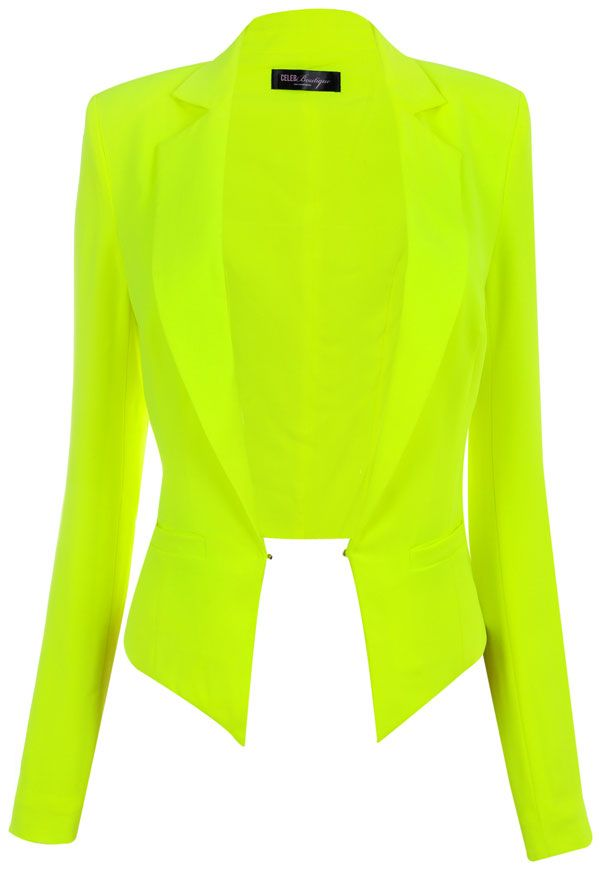 Neon Lime Green Cropped Tailored Blazer ☻ … | Pinteres…
