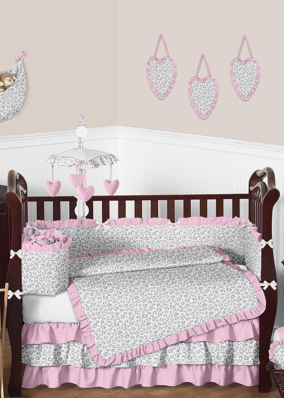 Cheetah Print Pink Gray White Crib Bedding By Sweet Jojo