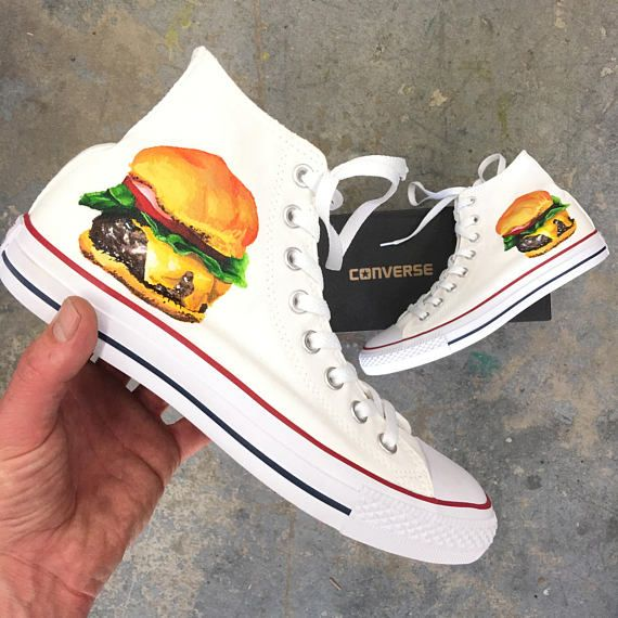 824f5f15a643e2 Hand Painted White Converse Chuck Taylor Hi Tops - Cheeseburger Theme by  BStreetShoes