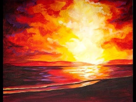 Beginners Acrylic Painting Stormy Sunset Step By Step On