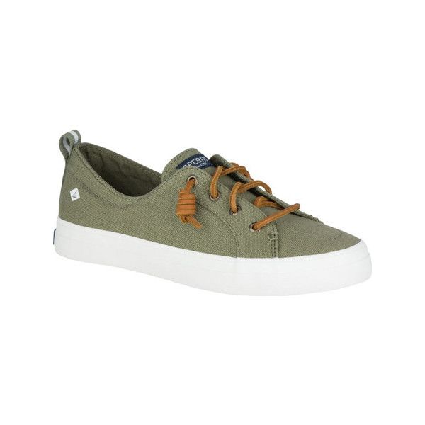 Women's Sperry Top-Sider Crest Vibe Sneaker (3.510 RUB) ❤ liked on Polyvore featuring shoes, sneakers, casual, canvas lace up sneakers, lace up sneakers, slip-on shoes, sperry sneakers and olive shoes