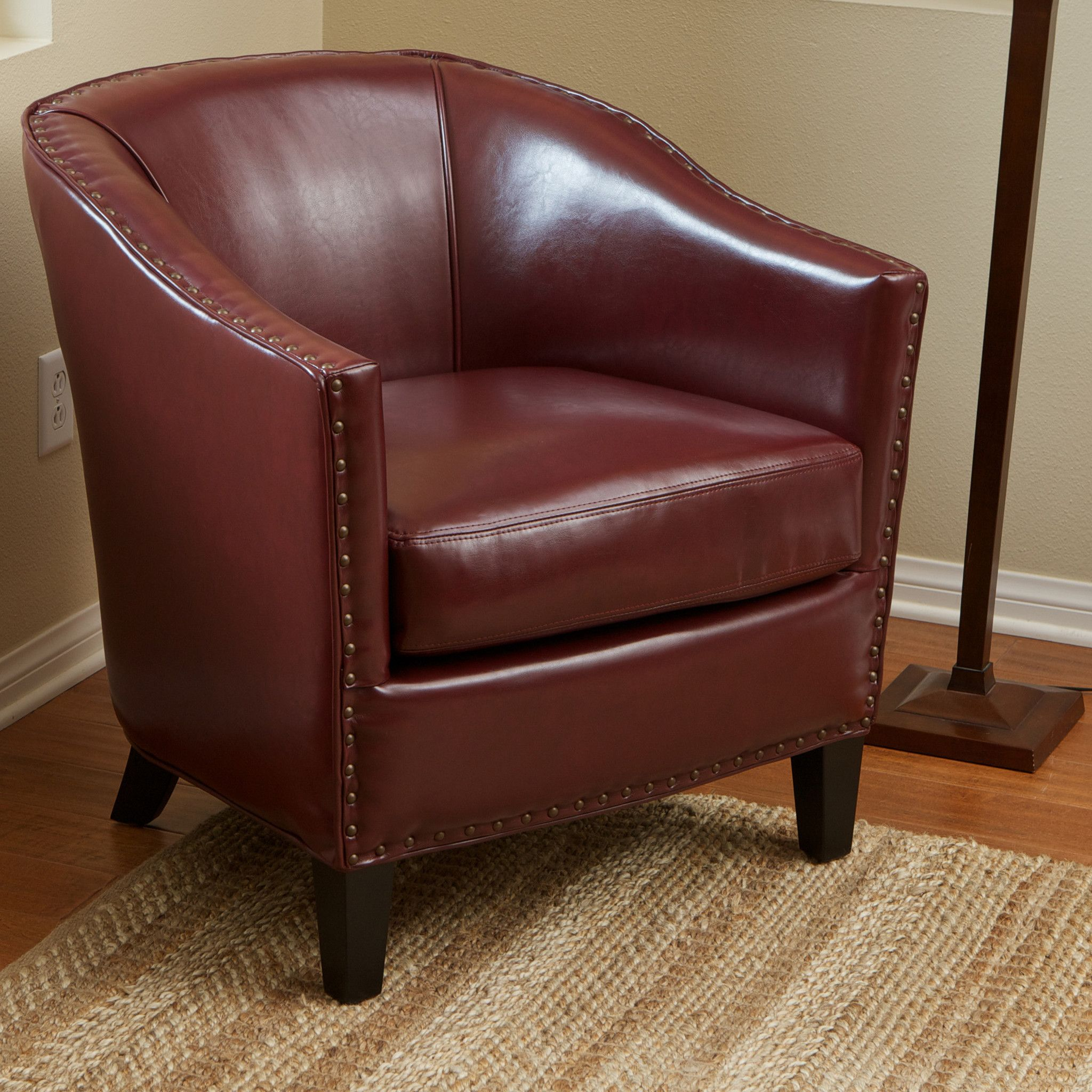 Carlton Red Leather Club Chair