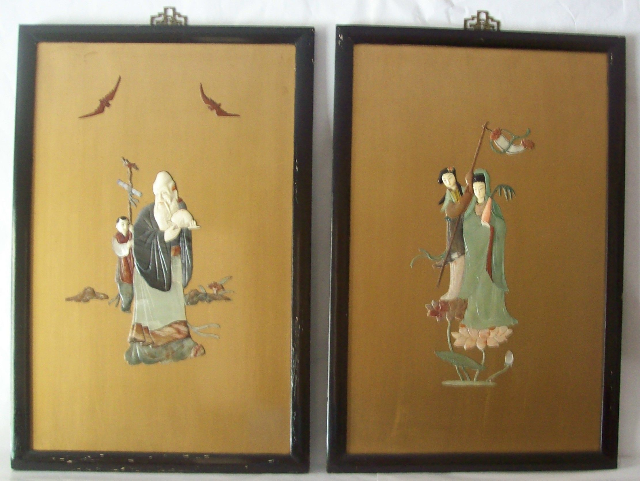 Pair of Chinese Lacquer Panels W/Jade,Agate,Mother Of Pearl Longevity