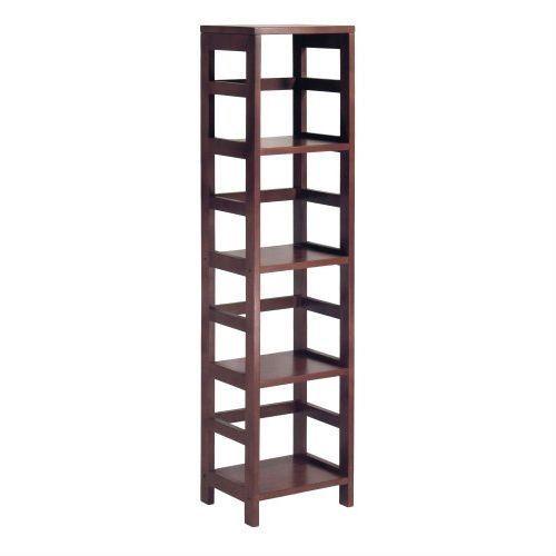 4 Shelf Narrow Shelving Unit Bookcase Tower In Espresso Shelves Cheap Bathroom Storage Storage Shelves