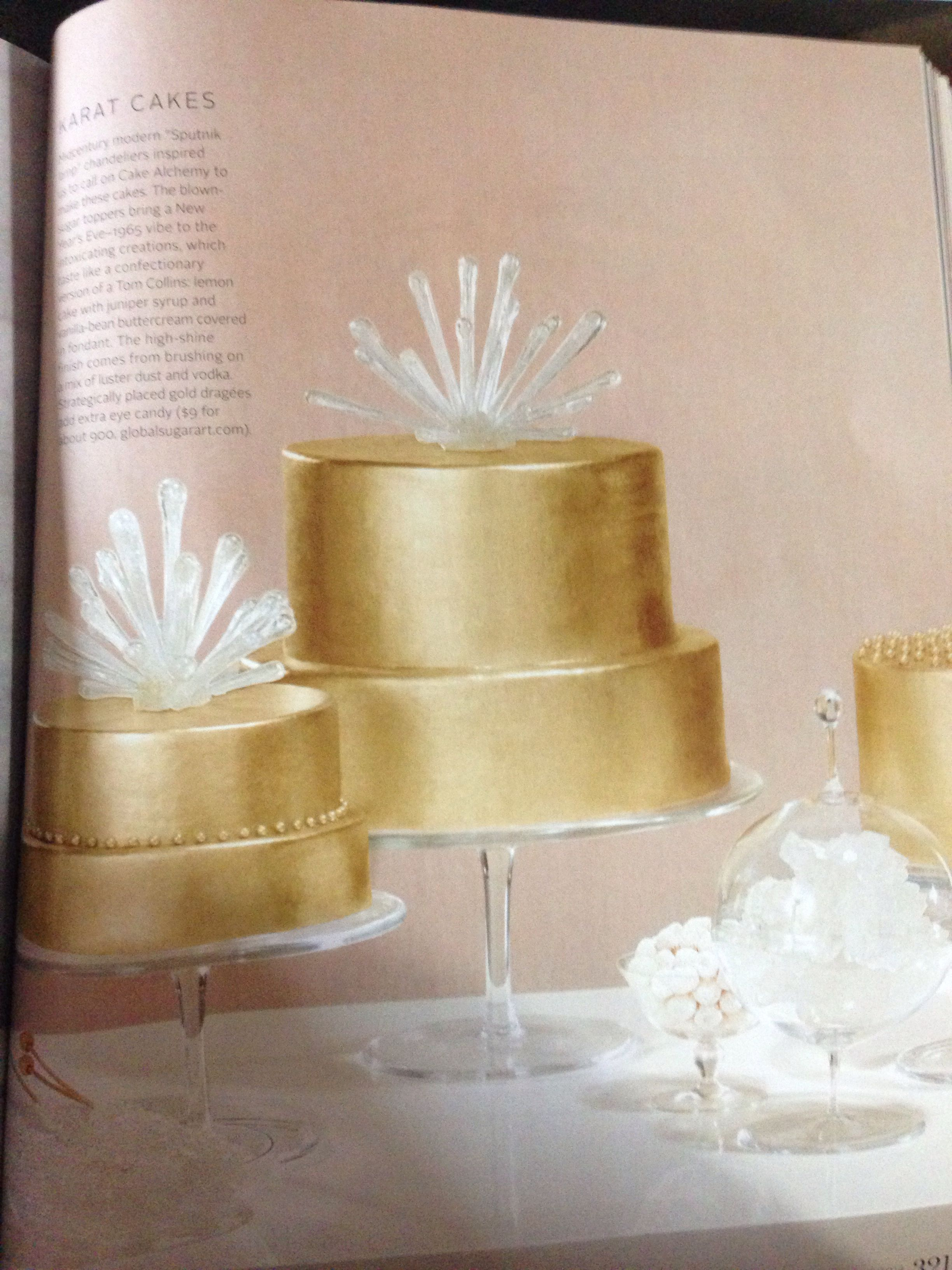 Love the blown sugar toppings, gold cake, and rock candy nearby to add to the chandelier look!