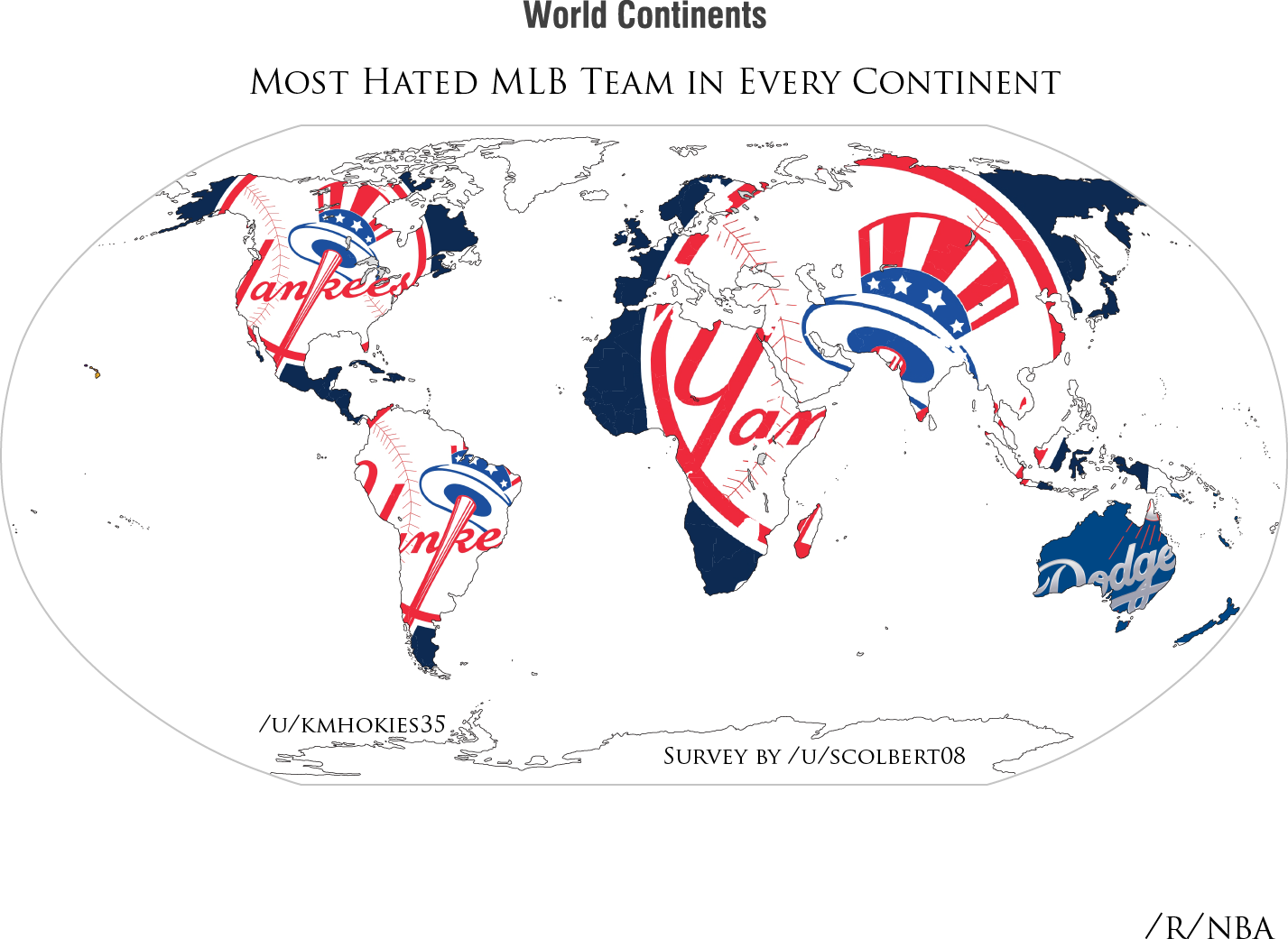 Graphic Of The Most Hated MLB Teams By Continent Baseball - Mlb us map