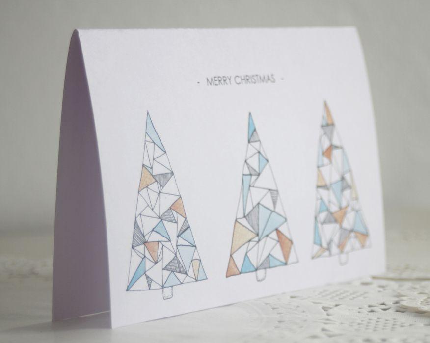 clouds of colour christmas card geometric tree christmas