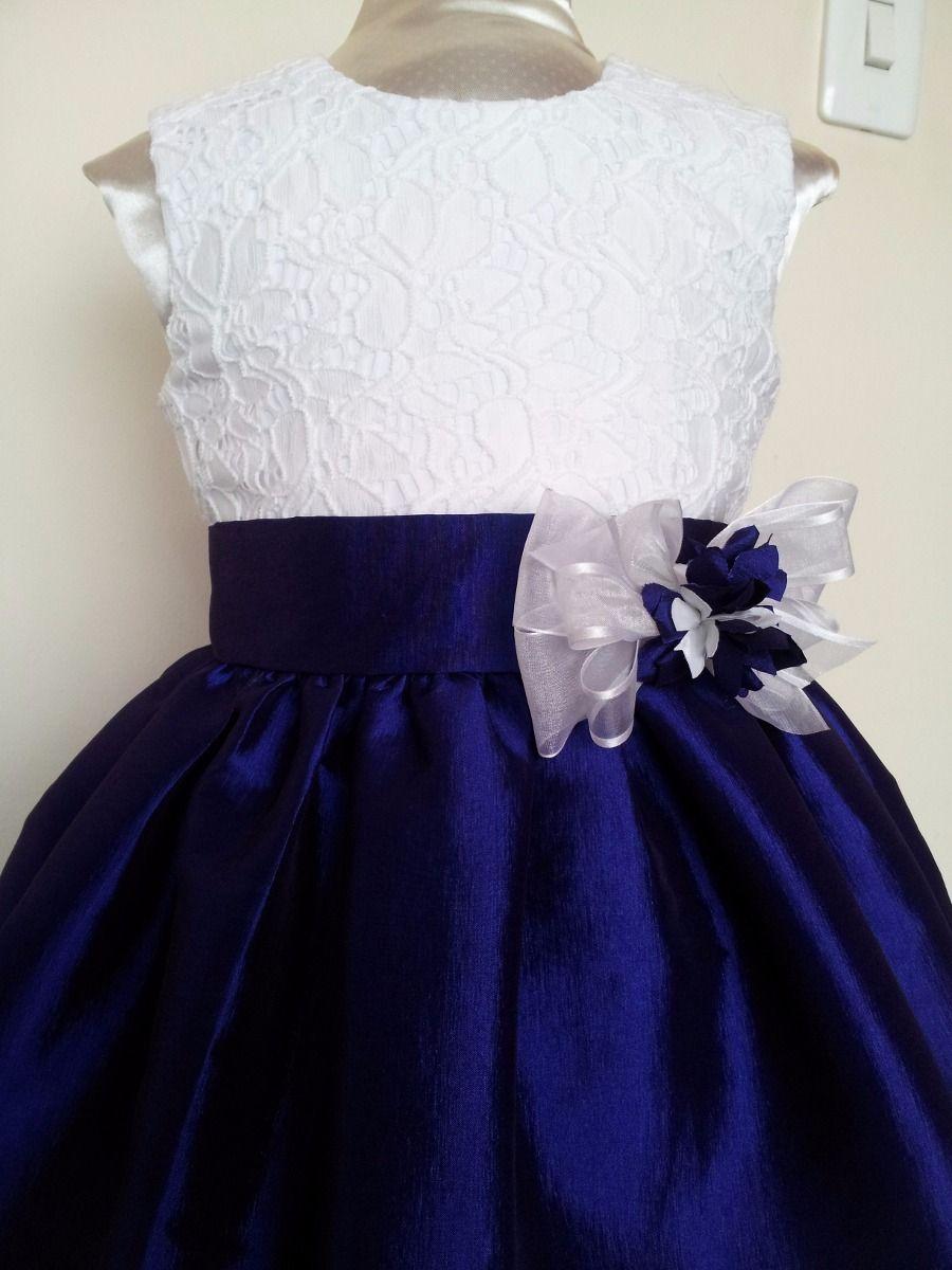 Vestido de fiesta azul marino con blanco