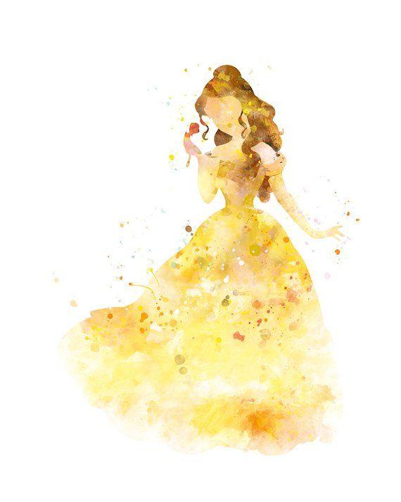 Belle Print, Princess Belle, Beauty and the Beast Art Print, Watercolor, illustration, Disney, Wall Art, Nursery, Kids, Home Decor