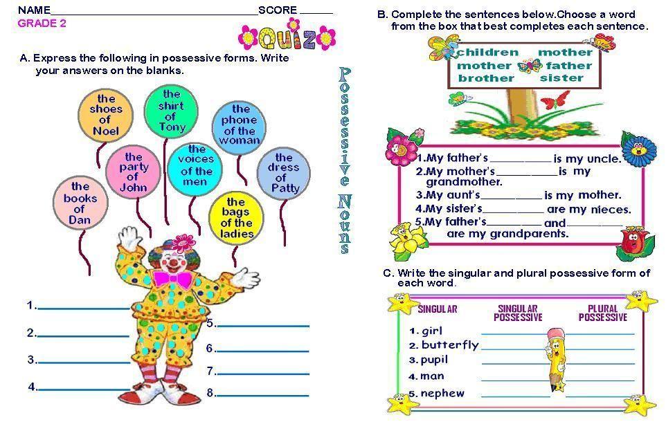 Grammar Worksheets Grade 2 Possessive Nouns Possessive Nouns 2nd Grade Worksheets Worksheets For Kids
