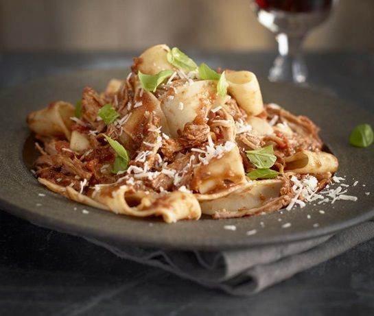 Italian ragu recipe made with pulled pork and served with pappardelle