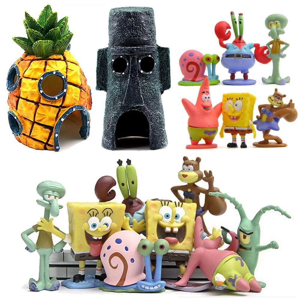 Aquarium Ornament Fish Tank SpongeBob Pineapple Krusty Krab House Resin Home US