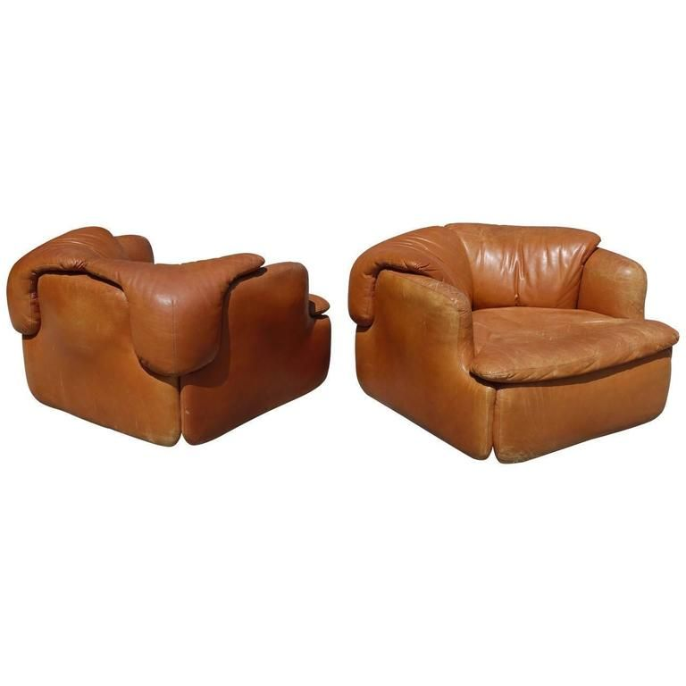 Pair of Leather Chairs by Alberto Rosselli for Saporiti