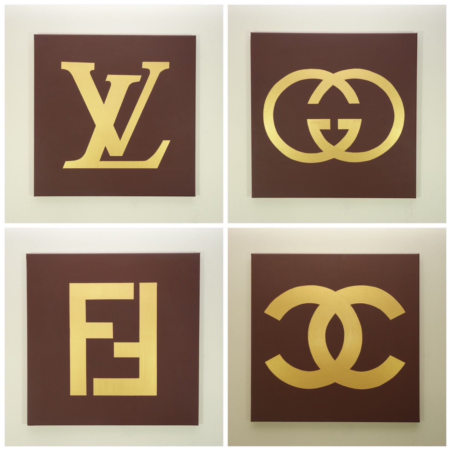 Louis Gucci Fendi And Chanel Paintings Set Four Each Fashion Logo Inspired Pop Art