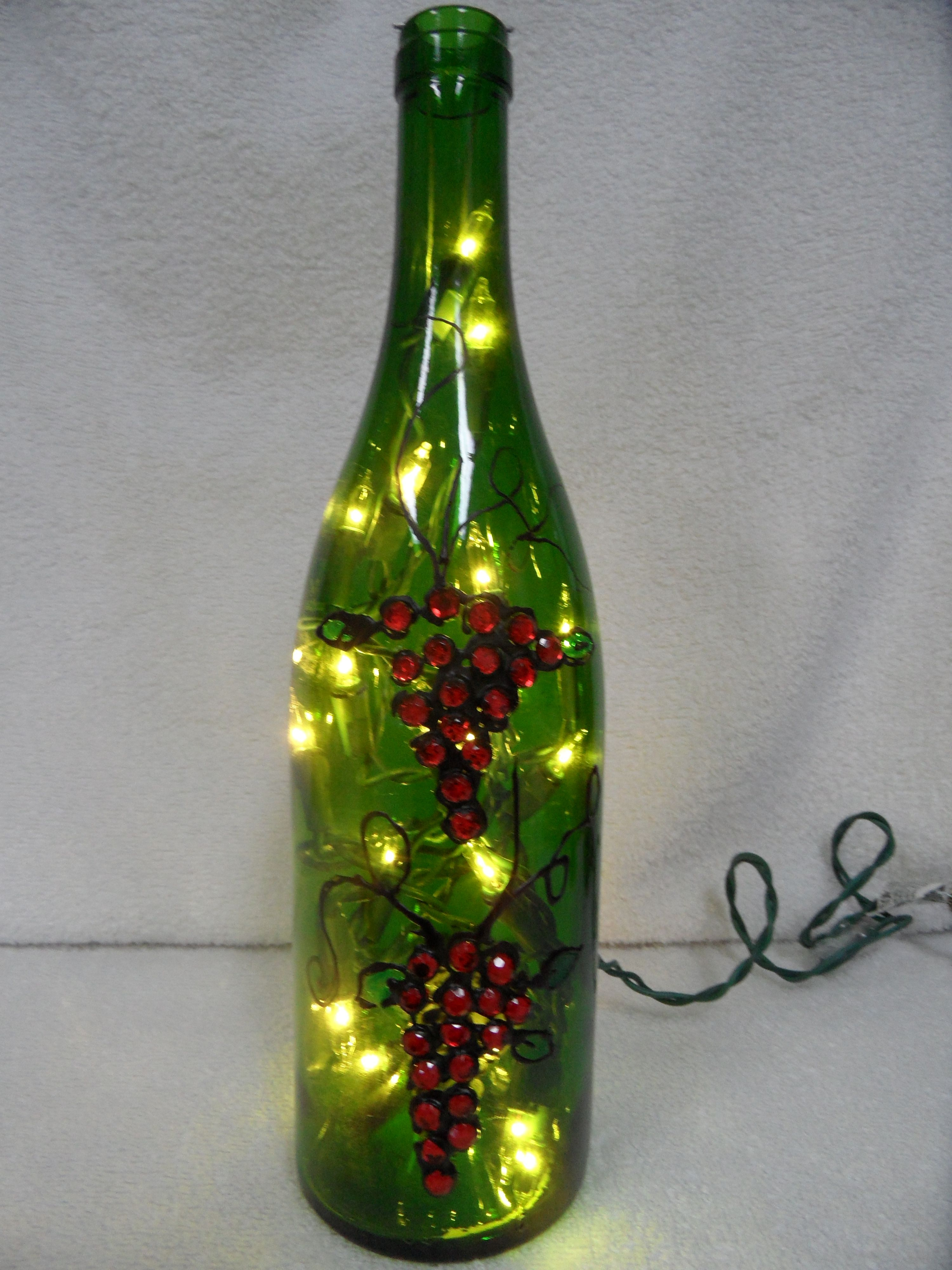 """This is not really painted.  Used """"leading"""" paint and plastic """"gems"""" to create the look of grapes."""