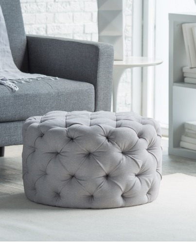 Allover tufted round ottoman in gray, sale $99 | BEAUTIFUL ROOMS ...