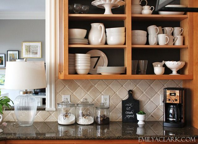 Working With: A Dark Kitchen | Open shelving, Doors and Kitchens