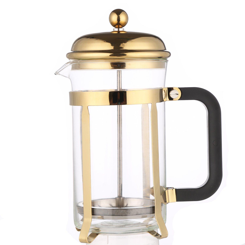 Gold French Press Heatresistant Borosilicate Coffee Press