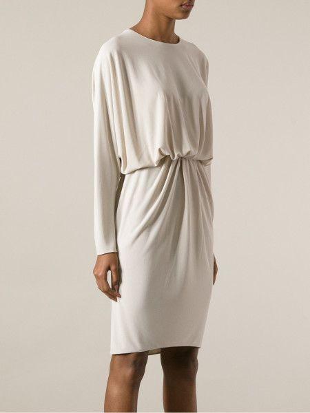 tunic style dresses beige | Lanvin Draped Tunic Dress in Beige (nude & neutrals)