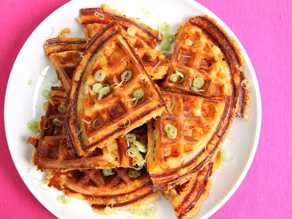Bacon Cheese And Scallion Waffles Recipe Recipe In 2020 Waffle Recipes Recipes Savory Waffles