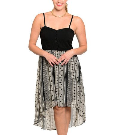 Love this Black & Taupe Geo Hi-Low Dress - Plus on #zulily! #zulilyfinds