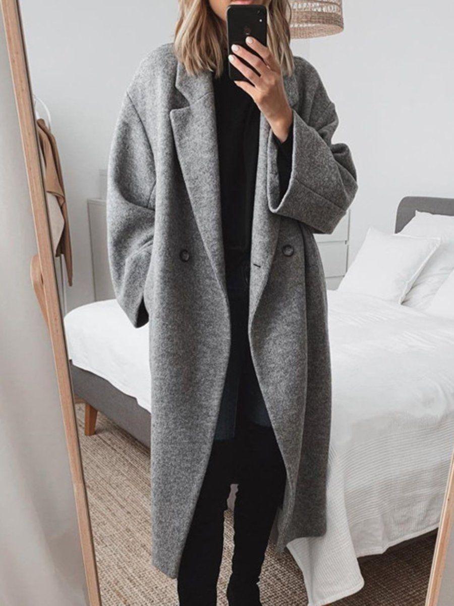 Women Pockets Solid Wool Blend Coat Coat Wool Blend Coat Winter Coats Women [ 1200 x 900 Pixel ]