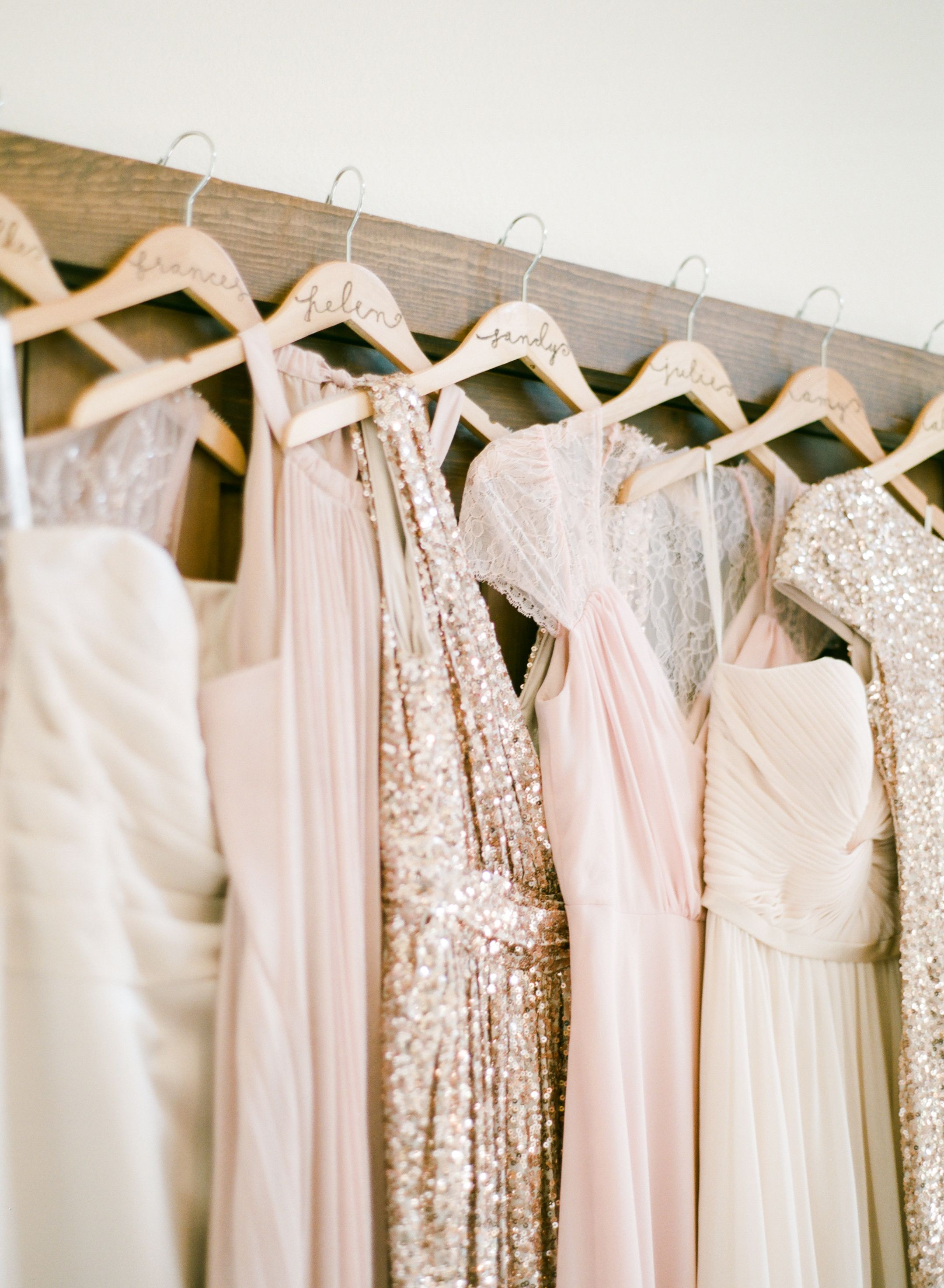 Natural chic pink and gold wedding hanger wedding and weddings bridal parties ombrellifo Image collections