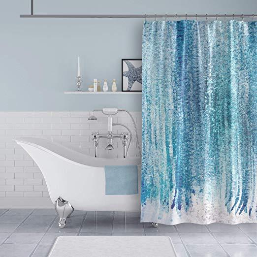 Amazon Com Blue Watercolor Stripes Shower Curtain Home Kitchen