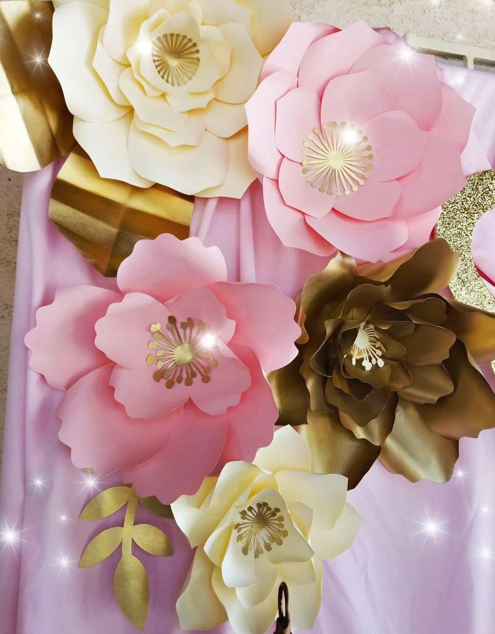 Pink And Gold Paper Flower Display Backdrop Handmade Cricut