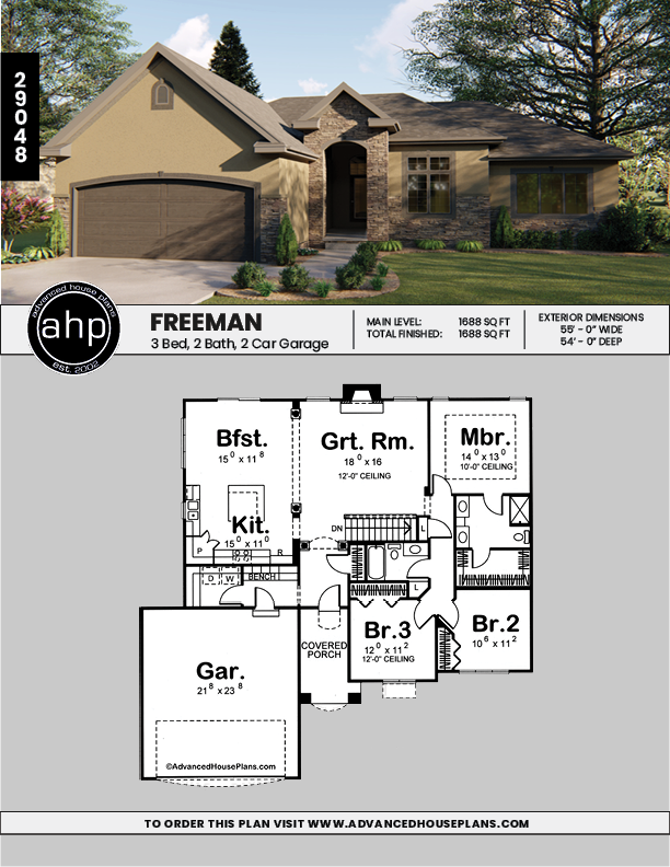1 Story Traditional House Plan Freeman Traditional House Plan House Plans Traditional House