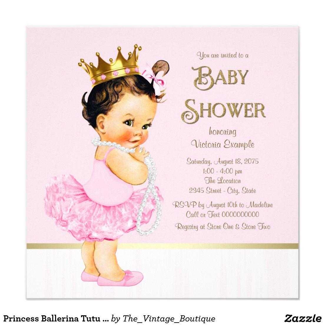 3215e9437 Princess Ballerina Tutu Pink Gold Baby Shower Invitation | Zazzle ...