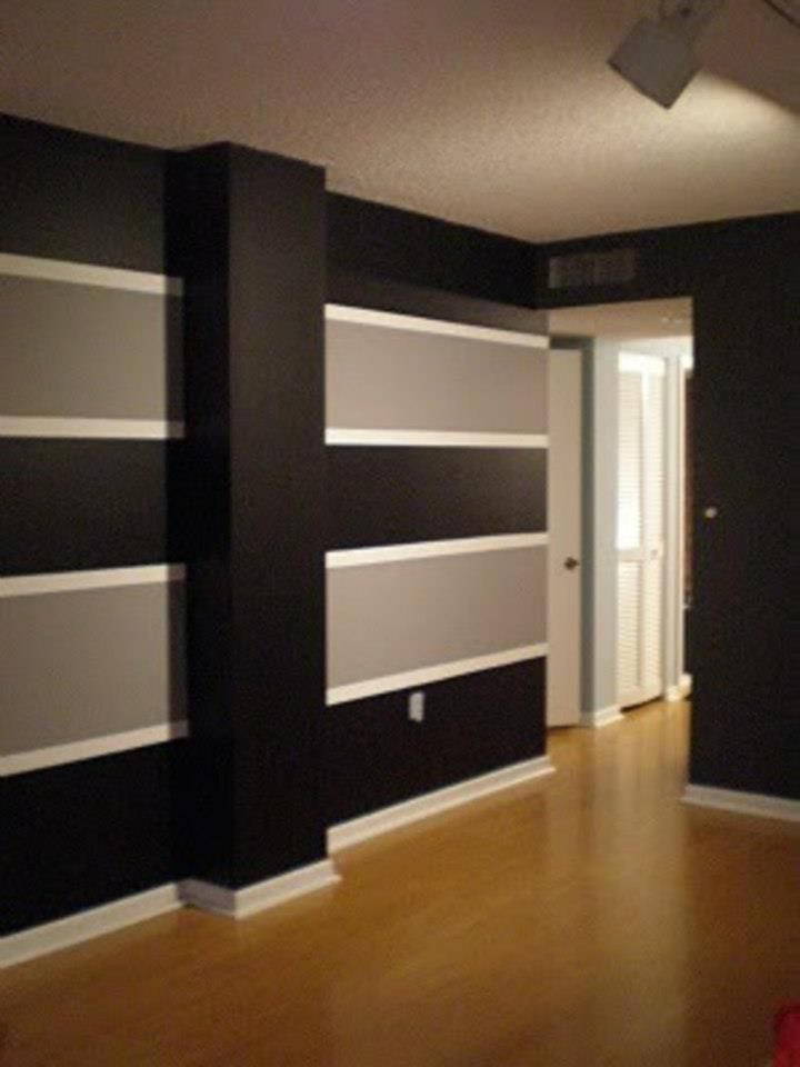 Horizontal 3 Color Stripe Wide Painting Stripes On Walls