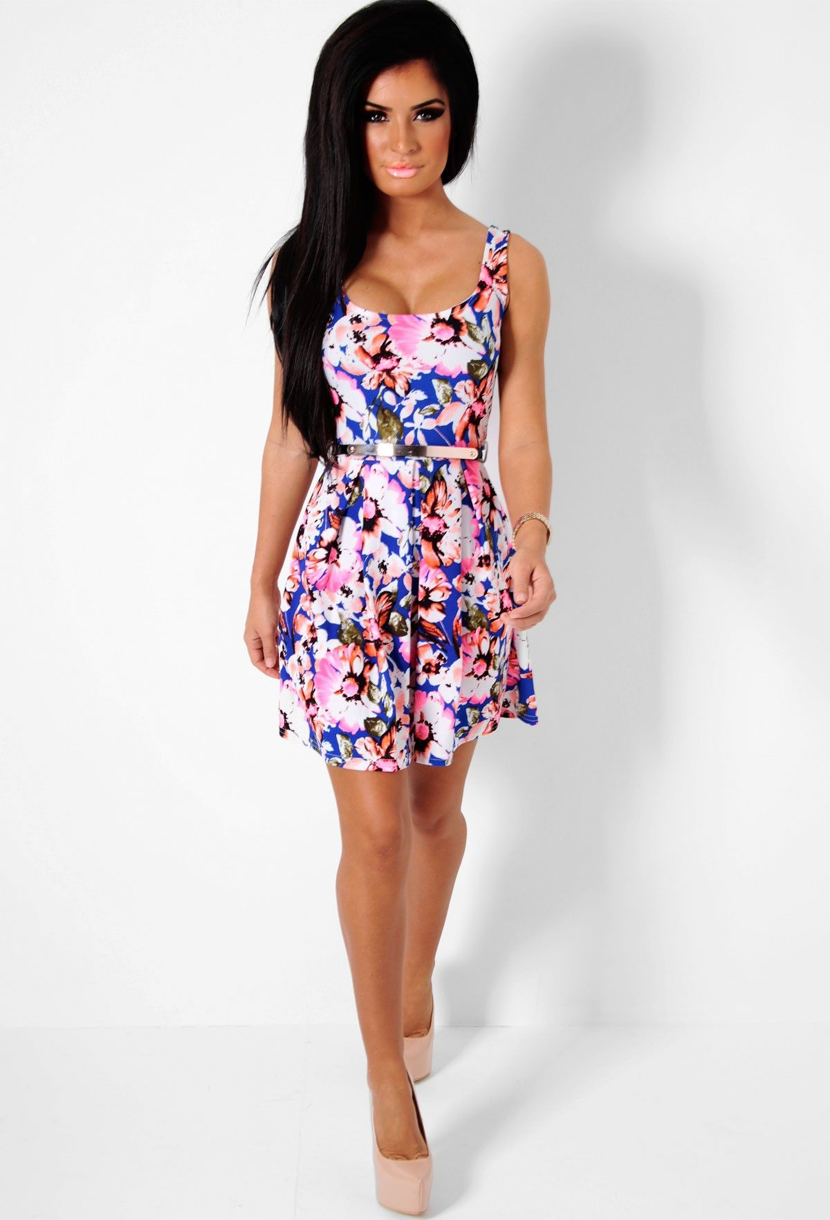 Morze Blue and Neon Pink Floral Skater Dress- I need this