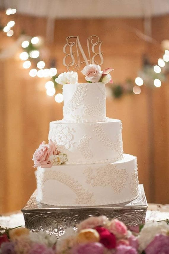 Monogram Wedding Cake Topper Couples By Inscribedmonograms On Etsy