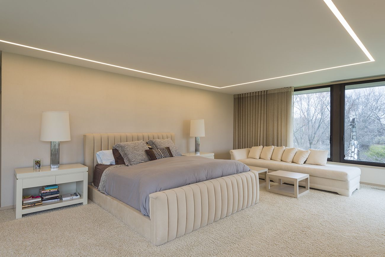 Truline Architectural Accent Lighting Wraps The Perimeter Of This Serene Bedroom Adding Ultramodern Ambiance