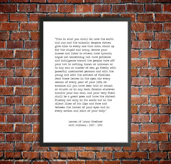 Walt Whitman Instant Download Printable Quote 'This Is What You Shall Do' Digital Literature American Poetry 'Leaves Of Grass' Poster Print #excelwordaccessetc