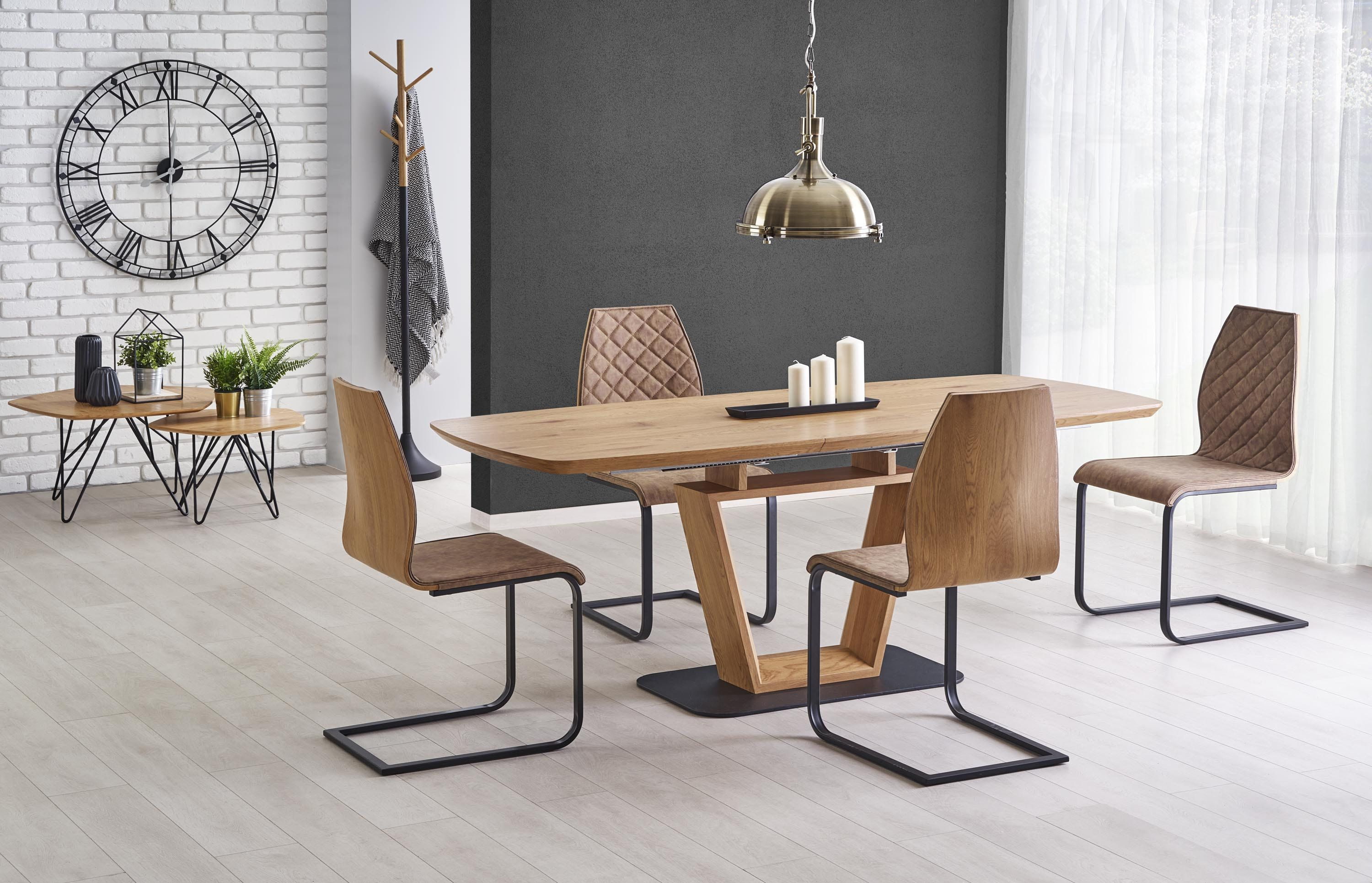 Blacky Oak Modern Extendable 160 220 Cm Dining Table Chairs